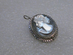 Vintage 800 Silver Abalone Carved Pendant Brooch Combination, 4.83 gr. 1""