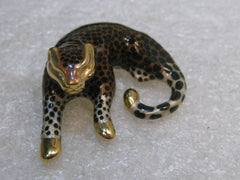 "14kt Gold Enameled Cheetah Pendant, Slide, Spotted,  3.71 grams, 1.5"" long, signed SLC"