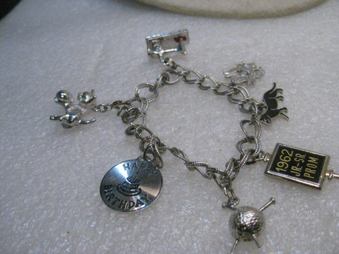 "Sterling Silver 8.5mm Charm Bracelet, 1960's, 7"", 34.01 gr, 7 Charms, 2 Sterling, Black Cat,  US Seal, Others"