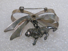 Vintage Sterling Silver Lions International Bow and Dangling Lion Charm Brooch, 1950's
