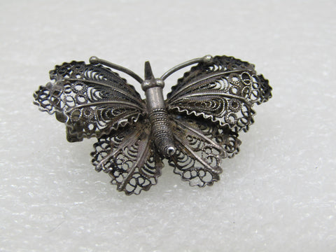 "Vintage .800 Sterling Butterfly Brooch, Filigree, 4.65 gr. 1.5"", C-Clasp, 1930's-1940's"