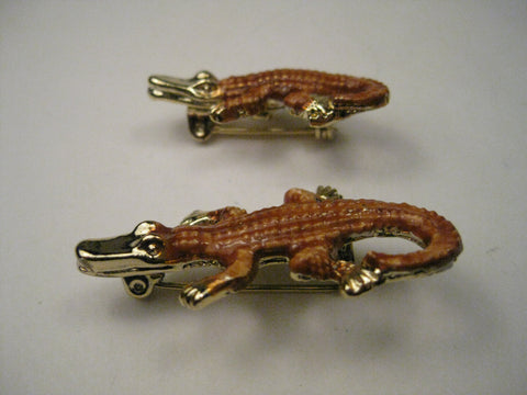 Vintage Alligator Mom &  Baby  Enameled  Brooches, signed Gerry's, mid-century