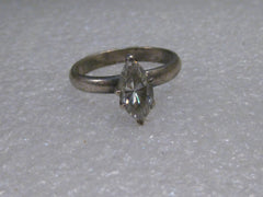Vintage Sterling Silver 1.30 ctw Marquis CZ Engagement Ring, size 8, 4.10 grams