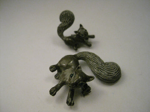 Vintage Mom and Baby  Enameled Squirrel Brooches, signed Gerry's, mid-century