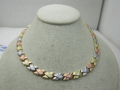 "Vintage 14kt Tri-Colored X Wreath Necklace, 18"", Turkey, 8.5mm, Aurafin 22 grams"