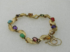 "Vintage 14kt Mixed Gemstone Leaf Bracelet,  7"", Safety Chain"