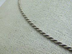"Vintage Sterling Silver Rope Necklace, 20"", 2mm, Signed Italy, 10.70 gr."
