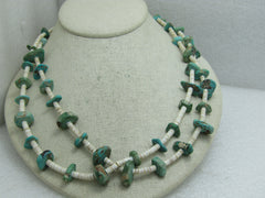 Vintage Southwestern/Native American Turquoise Nugget & Shell Heishi Beaded Necklace, 43""