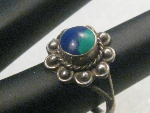 Vintage Southwestern Sterling Azurite Ring, Mexico, size 5.5, 3.09 grams, 1970's