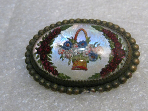 Vintage Essex Glass Floral Brooch, Pastel Basket and Red Roses, C-Clasp, Victorian/Edwardian, 1.5""