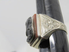14kt Carved Roman Soldier Ring, Men's, 1950's-1960's, Size 11, 7.40 Gr.