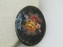 Vintage Black Floral Lacquered Brooch, Hand-Painted, Russian Themed, Oval 2.5""