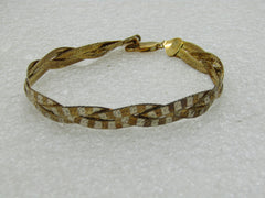 Reversible Sterling Herringbone Bracelet, Braided Two-Tone, 7.75, 8mm Wide