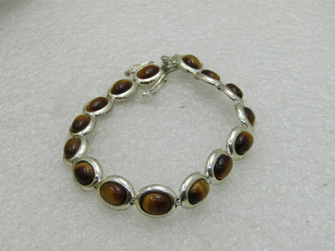 "Sterling Silver Tiger's Eye Bracelet, 7.25"", 9mm Wide, Safety Clasps"