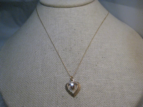 "14kt  Diamond Heart Pendant, 16"", 1mm wide, 1.35 grams, Open Heart, 2.5mm diamond"