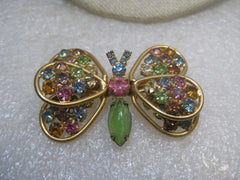 "Vintage Judy Lee Butterfly Brooch, & Clip Earrings Set, Pastel Rhinestones, 2"", 1960's"
