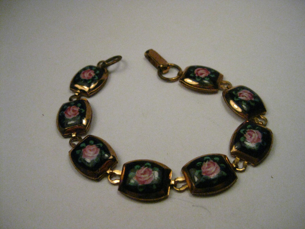 "Vintage Gold Tone Rose & Black Enameled, Gold Leaf Framed Bracelet, 6.75"", 1930-1940's"