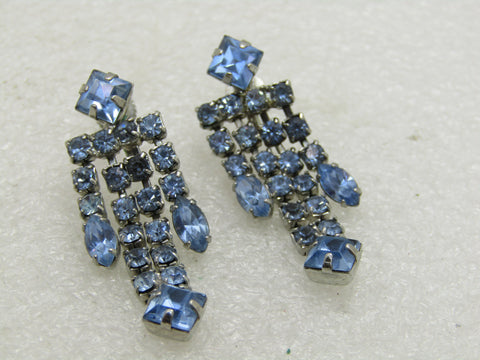 Vintage Blue Rhinestone Stud Dangle Earrings, Screw Back, Silver Tone, 1.75""