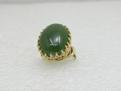 Vintage 14kt Nephrite Ring, Victorian Themed, Size 4, 8.75gr, 14 TCW
