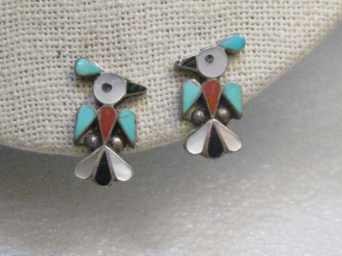 Sterling Silver Zuni Thunderbird Clip Earrings, 1970's, Turquoise, MOP, Coral, Onyx, 4.34 gr., 3/4""