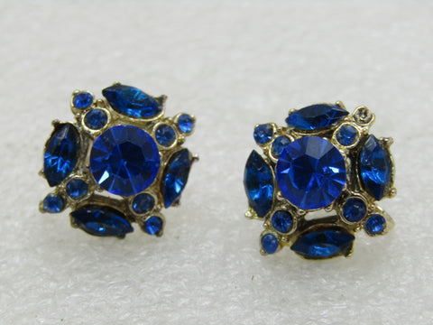 Vintage Blue Rhinestone Tiered Earrings, Screw Back, Gold Tone, 3/4""