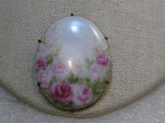 "Victorian Painted Roses Porcelain Floral Brooch, 1.75"" - Oval"