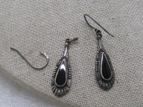 "Vintage Sterling Southwestern Onyx Earrings, Pierced, 1970's, 1.75"" 3.18 Gr., New Posts"