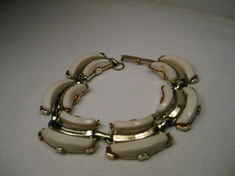 "Vintage Gold Tone White Thermoset/Plastic Bracelet, 7.5"", Triple Row, 1950-1960's"