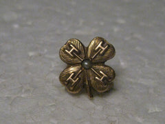 Vintage 10Kt Gold 4 H  Club Lapel Pin with Seed Pearl, Almost 1/2""