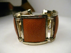 "Vintage Gold Tone Wide Burnt Orange Leather Link Bracelet, 1970's, 7"" - Boho Appeal Too!"