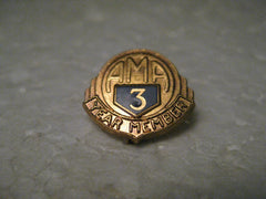 Vintage American Motorcycle Association 3 Year Member Pin, Gold Tone, Enameled
