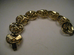 "Vintage Gold Tone Coro Rhinestone Art Deco Style Bracelet, 7"", 8 links, Cut-Out design"