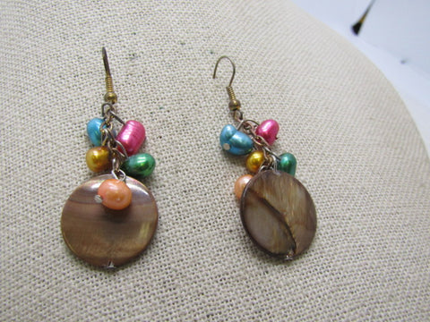 "Vintage Colorful Pearl Pierced Earrings, 2.25"", Baroque & Disc, 1980's-1990's"
