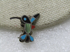"Southwestern Zuni Inlaid Hummingbird Brooch/Pendant , Sterling Silver, 3/4"", 1970's"