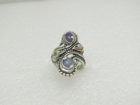 Carolyn Pollack Relios Windsong Ring, Multi-Stone, Charoite Ring+, Size 8.5, 8.75 gr. Bypass
