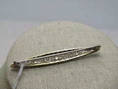 "14kt Art Deco Filigree Brooch, Floral Theme, 2.25"" Bar Brooch, Locking C-Clasp"