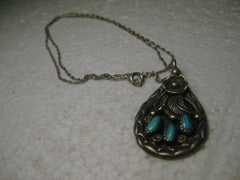 "Vintage Sterling Silver Southwestern Petit Point Turquoise Pendant on 18"" Chain, 10.88 gr., 1960-1970's"