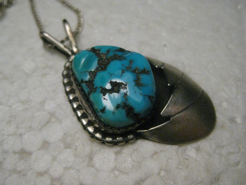 Vintage Sterling Silver Southwestern Turquoise Nugget Shadowbox Pendant, 6.36 gr, 1.5""