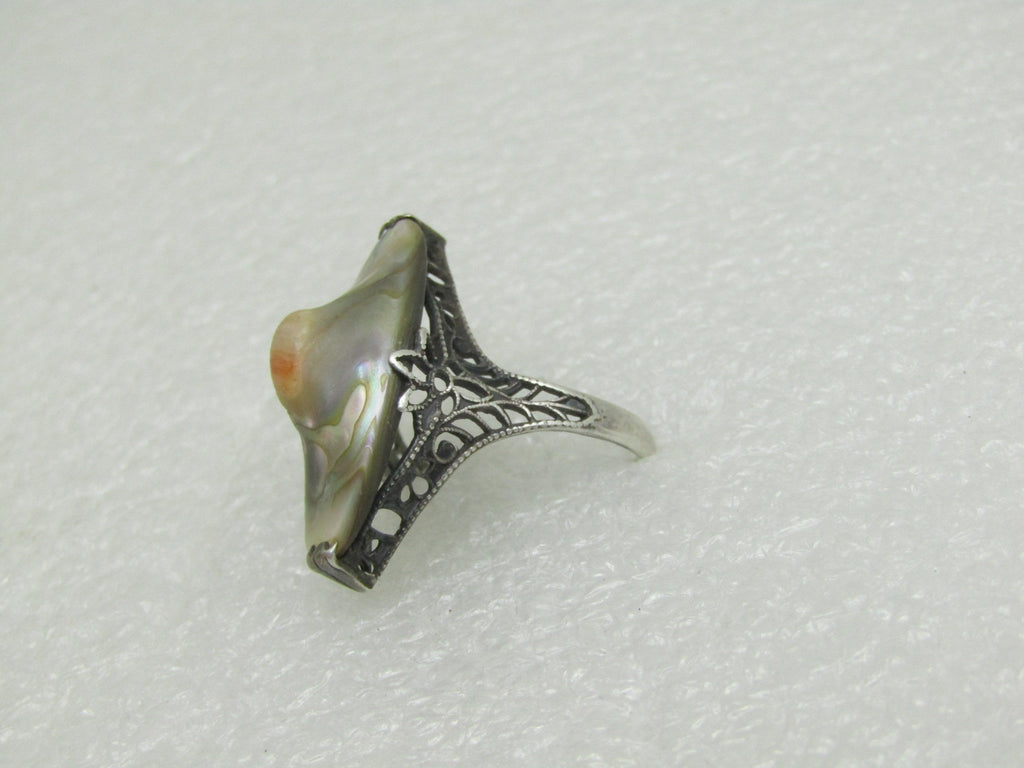 Sterling Art Deco Blister Pearl Ring, Size 6, Early 1900's