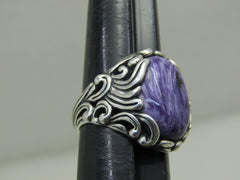 Carolyn Pollack Relios Charoite Ring, Swirling Waves Design, Sz. 8.25, 9.95 gr.