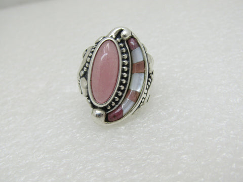 Sterling Rose Quartz & MOP Crescent Ring,  Carolyn Pollack Relios Southwestern , Sz. 8.5, 15.45g.