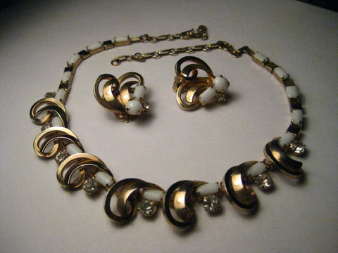 "Vintage Gold Tone White Milk Glass & Rhinestone Choker with Matching Clip Earrings, 16"", 1940-1950'S"