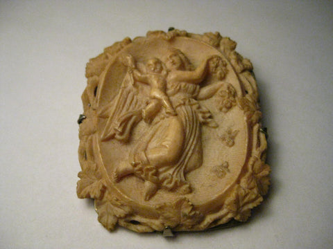 "True Vintage Angel and Child Cameo or Mourning Brooch Pendant Combination, 2.25"", Early 1900's"