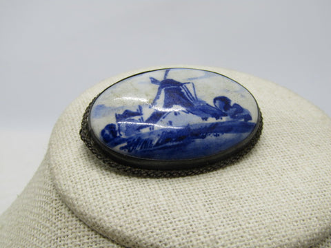 Vintage .835 Silver Delft Brooch, Windmill, Hand Painted Porcelain, C-Clasp, Early 1900's.