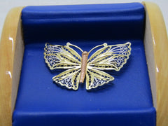 "14kt Tri-Color Butterfly Brooch, Filigree, 3.47gr. 1.5"", signed CCC"