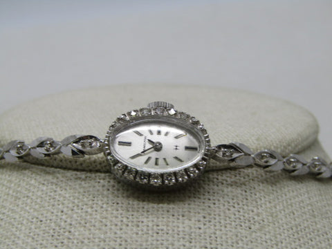 "Vintage 14kt  Hamilton Diamond Ladies Watch, Cocktail, 6.5"", Safety Chain, White Gold, Mechanical"