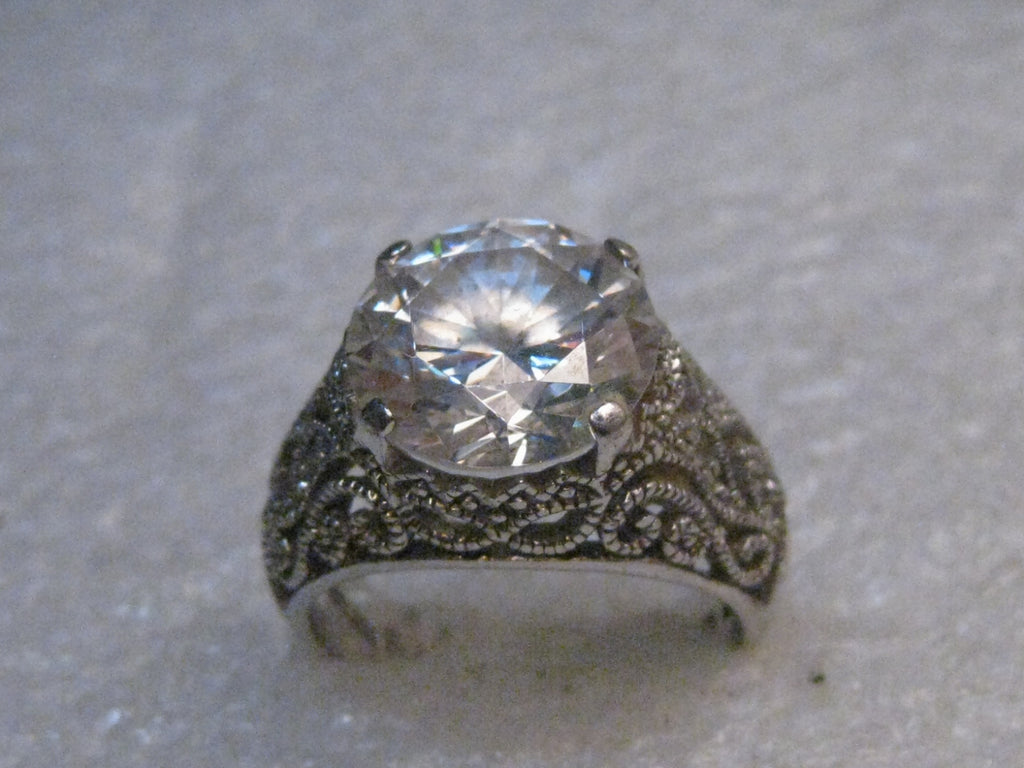 Sterling Silver Filigree CZ Engagement Ring, Size 8.25, 12mm stone, Signed GSJ