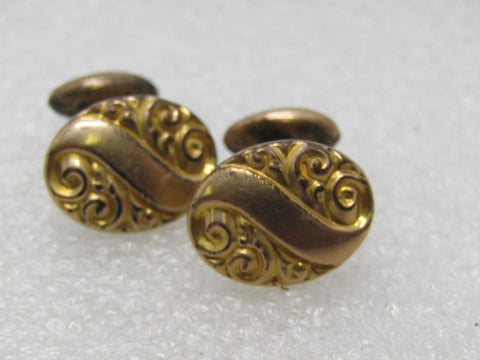Victorian Rolled Gold Cufflinks, 14kt  signed E.I.F. & Co. (Franklin), 1800's, Scrolled