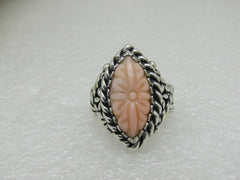 Sterling Carolyn Pollack Carved Flower Ring, Pink Coral, Size 8.25, 10.45gr.
