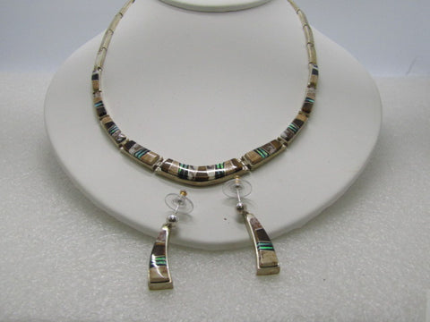 "Sterling Touche of Sante Fe Inlaid Necklace & Earrings, V. Yazzie, 16"", 46.29gr, Opal/Onyx/Tiger's Eye/Agate, 16"""